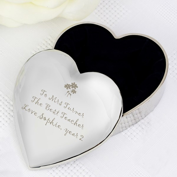 Teacher Heart Flowers Trinket Box