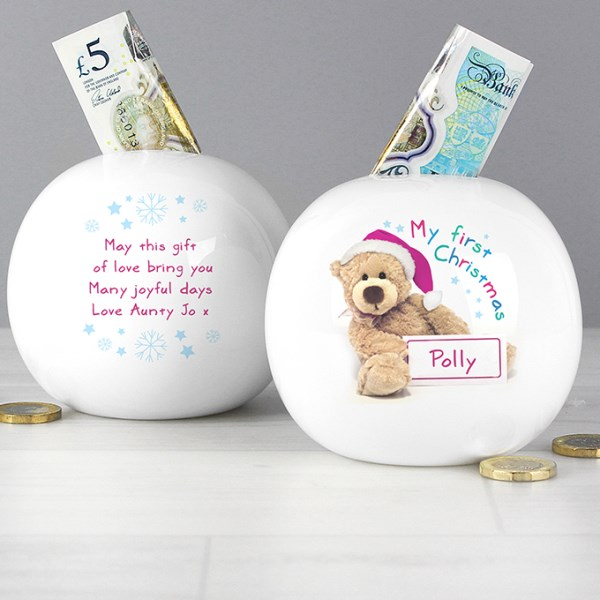 Teddy 1st Christmas Money Box