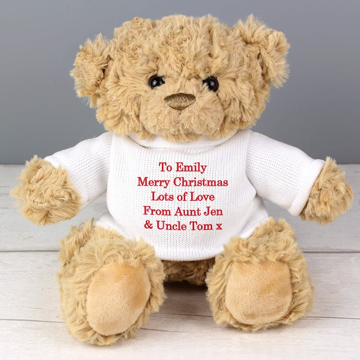 Teddy Message Bear in Cream Jumper