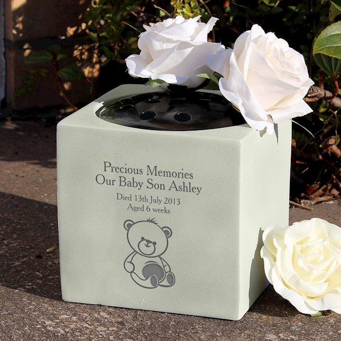 Teddy Bear Memorial Vase