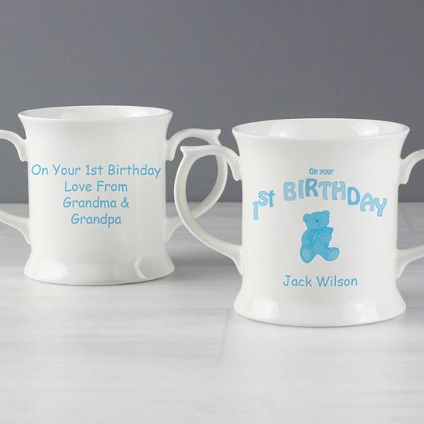 Teddy Blue 1st Birthday Loving Mug