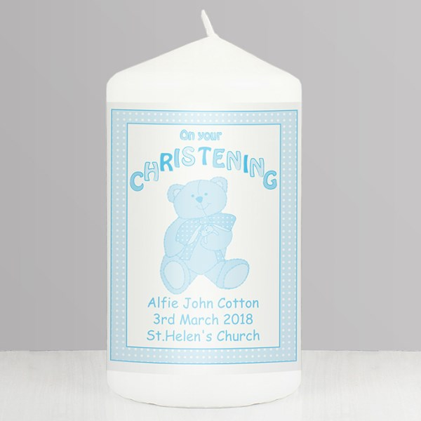 Teddy Blue Christening Candle