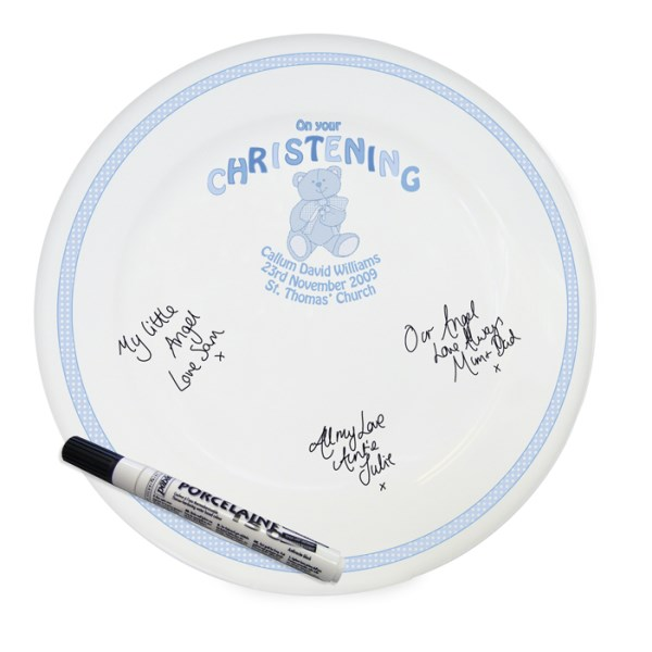 Teddy Blue Christening Message Plate