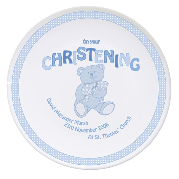 Teddy Blue Christening Plate
