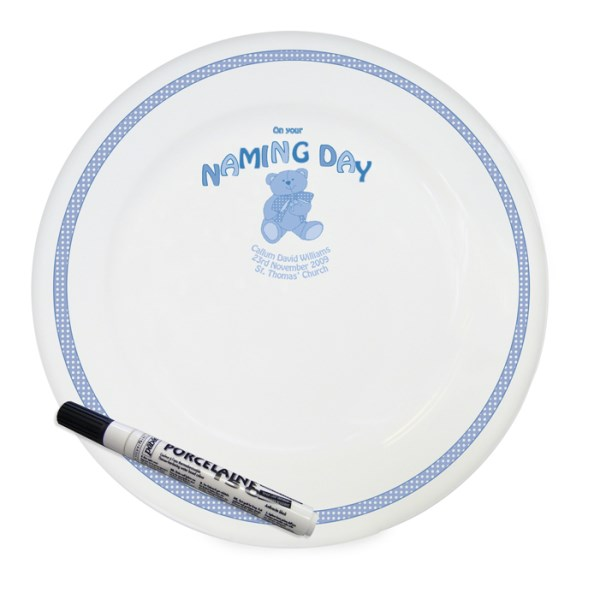 Teddy Blue Naming Day Message Plate