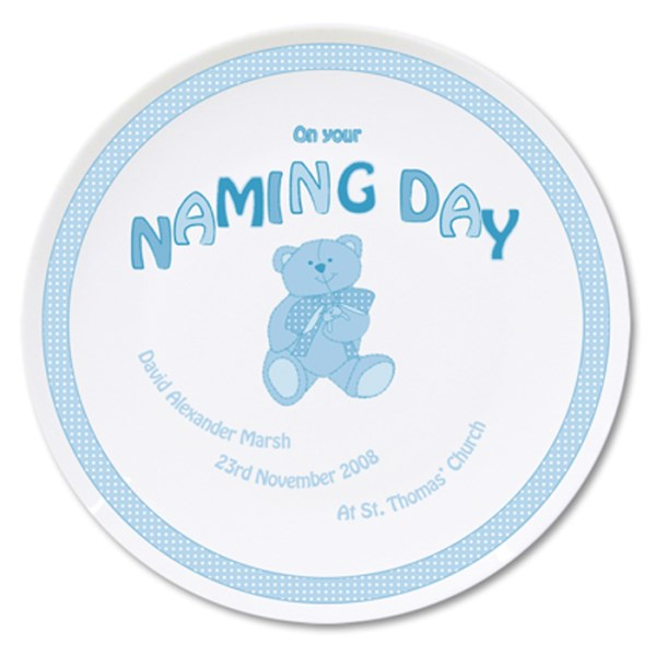 Teddy Blue Naming Day Plate
