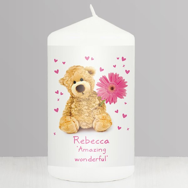 Teddy Flower Candle