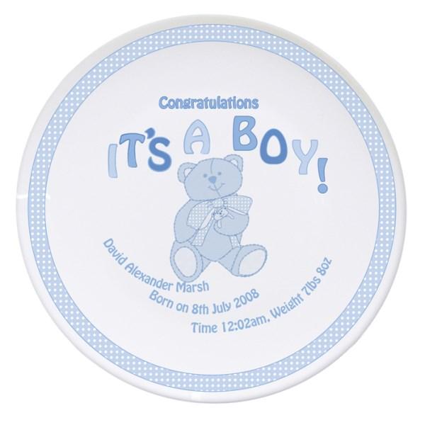 Teddy It's a Boy Plate