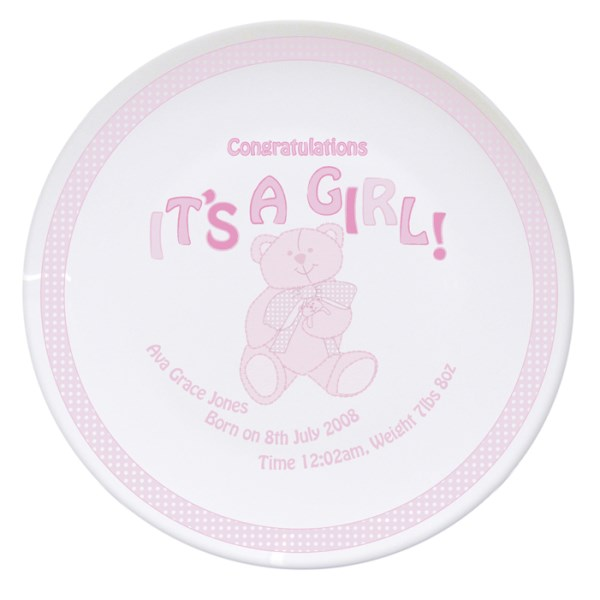 Teddy It's a Girl Plate