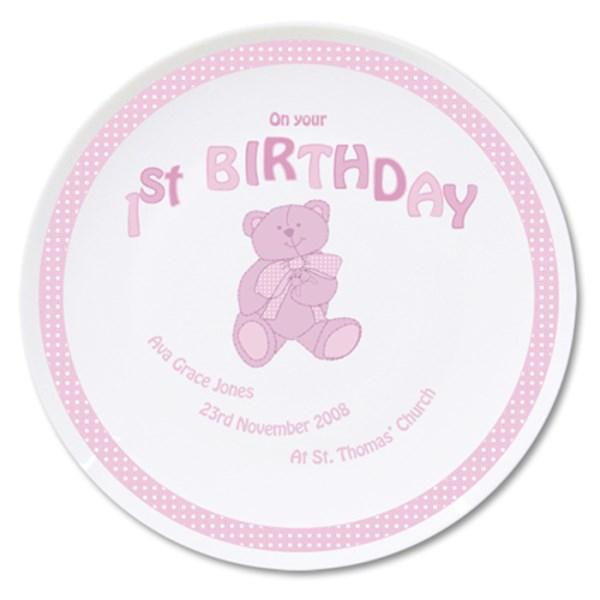 Teddy Pink 1st Birthday Plate