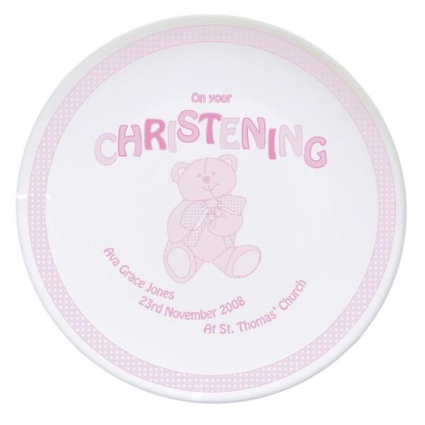 Teddy Pink Christening Plate