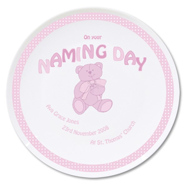 Teddy Pink Naming Day Plate