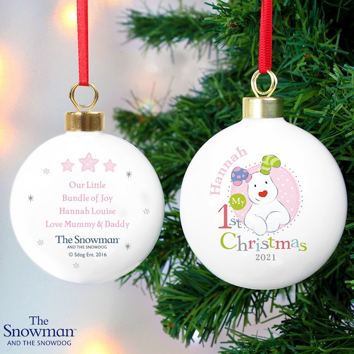 The Snowman and the Snowdog My 1st Christmas Pink Bauble