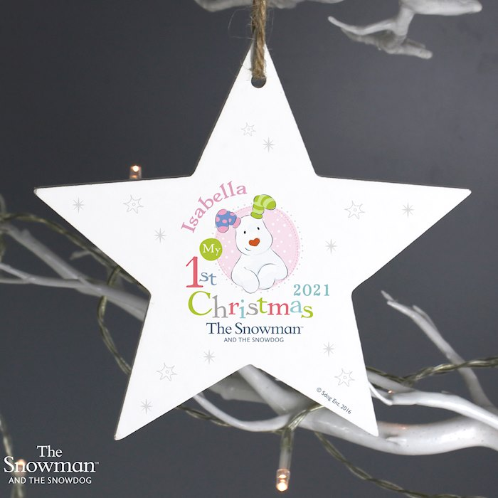 The Snowman and the Snowdog My 1st Christmas Wooden Star Decoration - Pink Design
