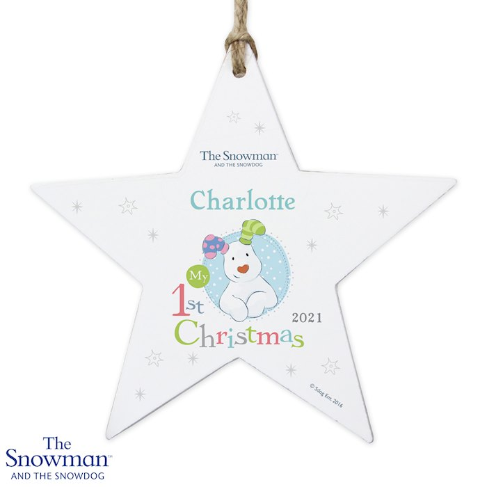 The Snowman and the Snowdog My 1st Christmas Wooden Star Decoration - Blue Design