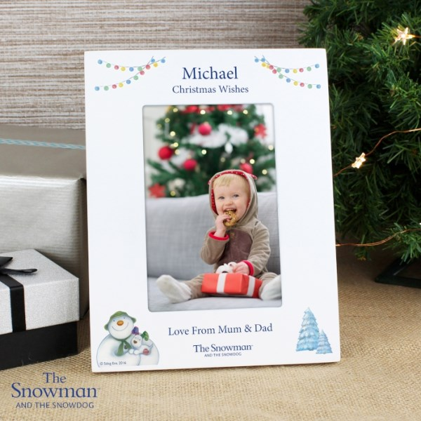 The Snowman and the Snowdog White 4x6 Photo Frame