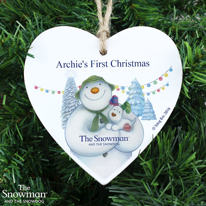 The Snowman and the Snowdog Wooden Heart Decoration