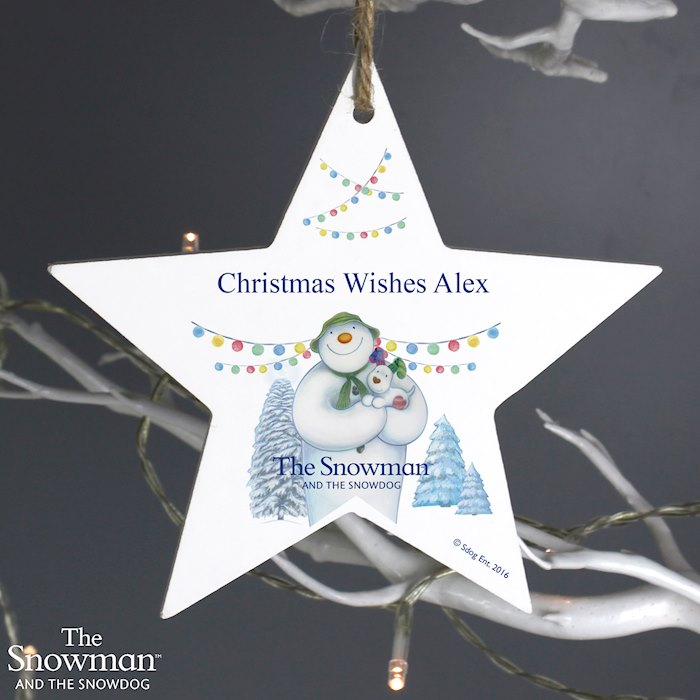 The Snowman and the Snowdog Wooden Star Decoration
