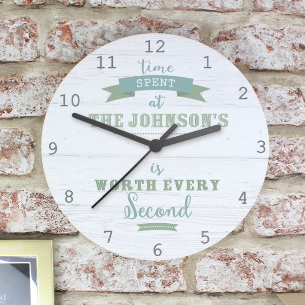 Time Spent Shabby Chic Wooden Clock