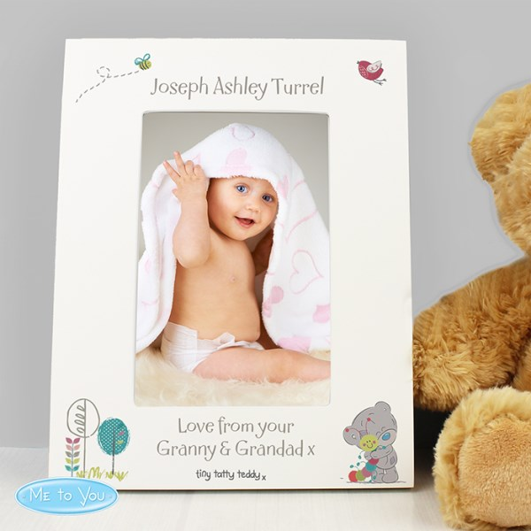 Tiny Tatty Teddy Cuddle Bug White 4x6 Frame