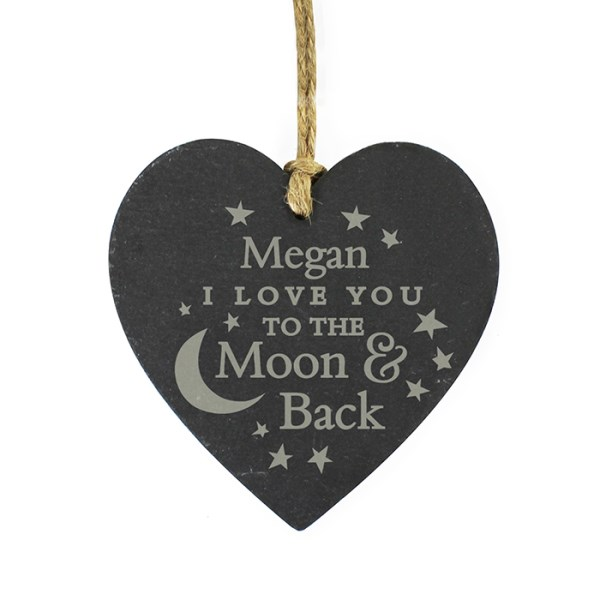 Personalised To the Moon and Back... Slate Heart Decoration