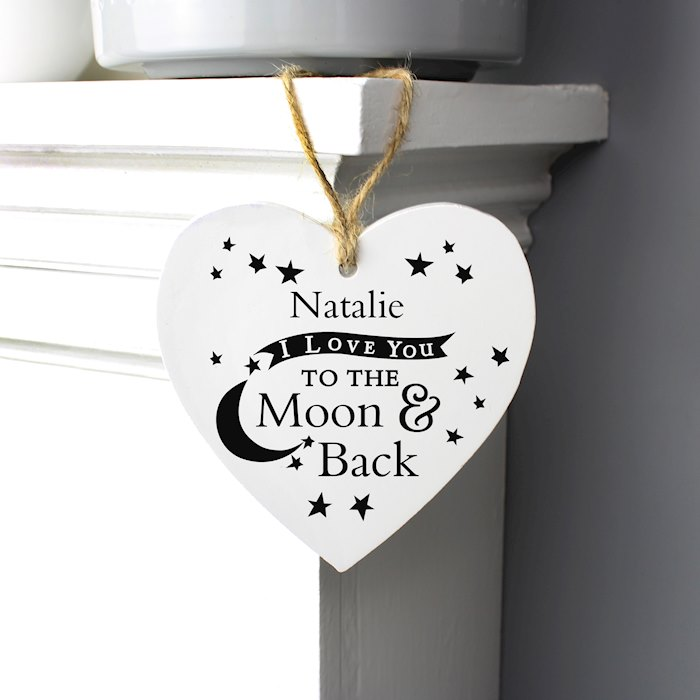 To the Moon and Back... Wooden Heart Decoration
