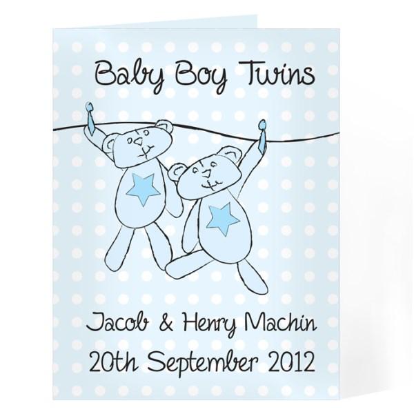 Twin Boys Washing Line Card