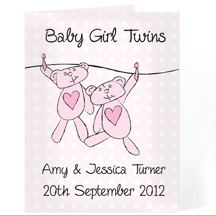 Twin Girls Washing Line Card