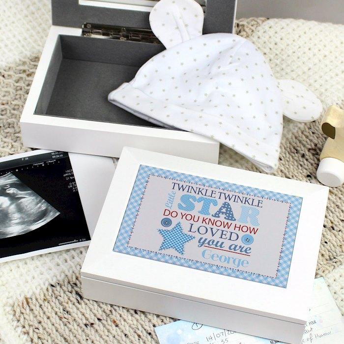 Twinkle Boys White Keepsake Box