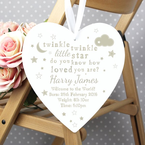 Twinkle Twinkle 22cm Large Wooden Heart Decoration
