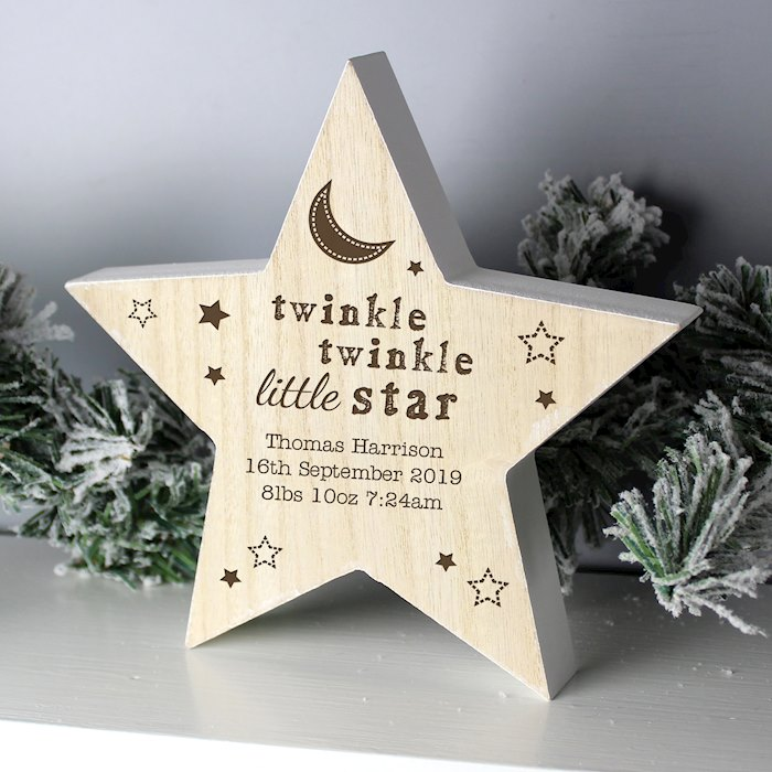 Twinkle Twinkle Rustic Wooden Star Decoration