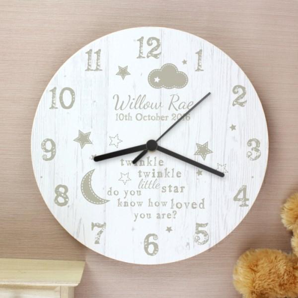 Twinkle Twinkle Shabby Chic Wooden Clock