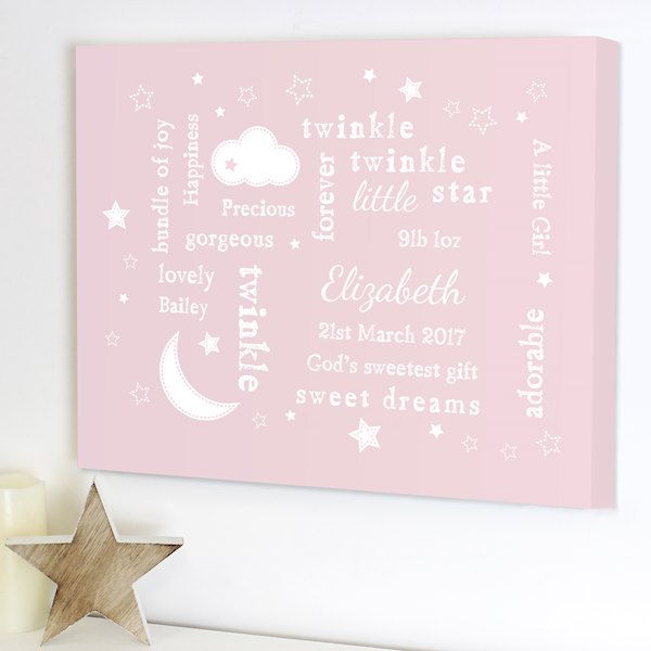 Twinkle Twinkle Typography Pink Canvas