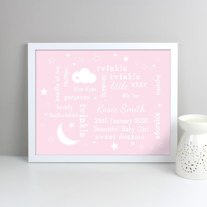 Pink Twinkle Twinkle Typography White Framed Poster Print