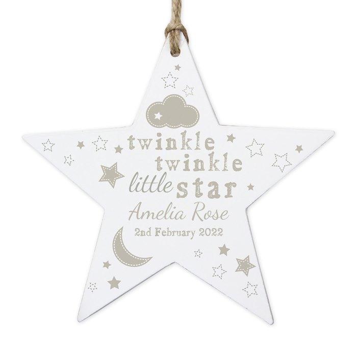 Twinkle Twinkle Wooden Star Shaped Decoration