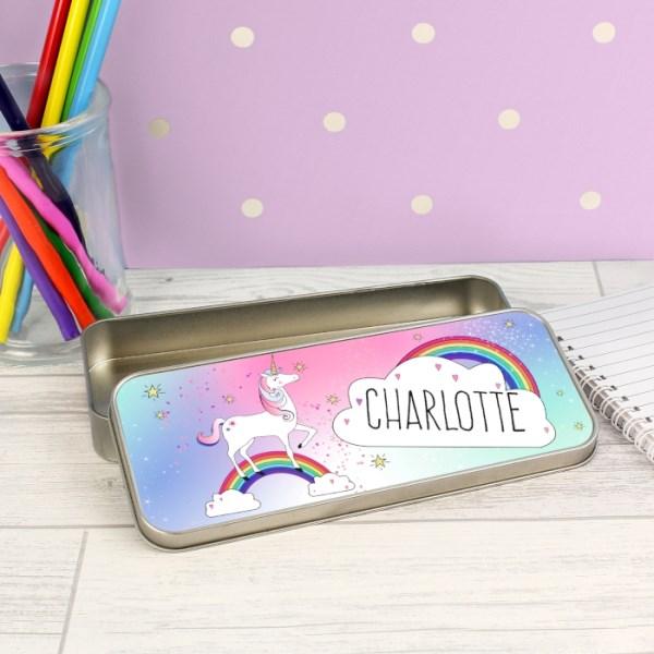 Unicorn Pencil Tin with Pencil Crayons