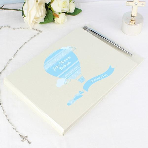 Personalised Up & Away Baby Boy Hardback Guest Book & Pen