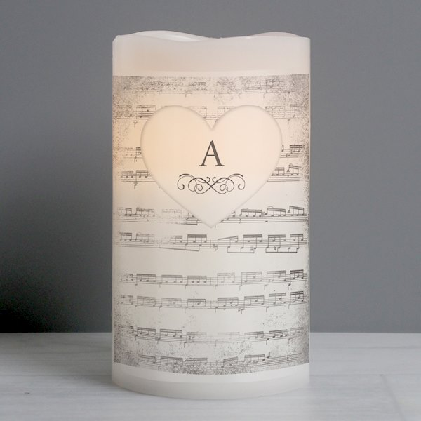 Vintage Music Manuscript LED Candle