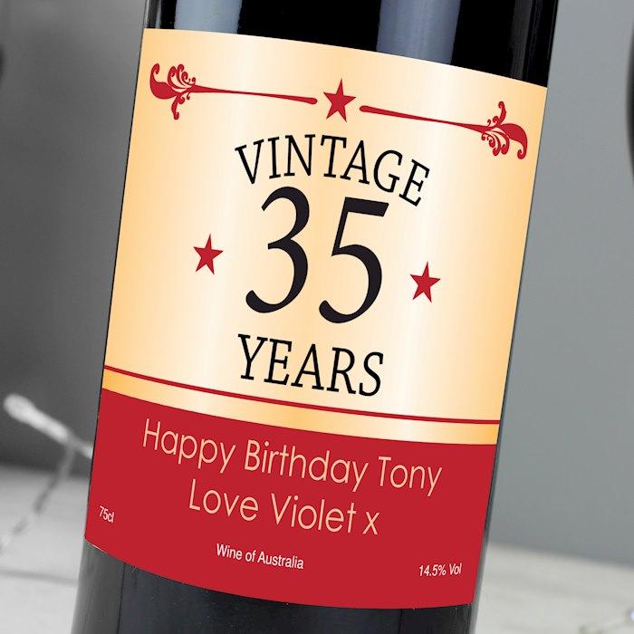 Vintage Numbers Red Wine