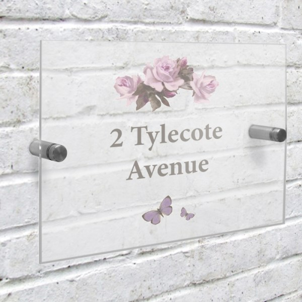 Vintage Rose Acrylic House Sign