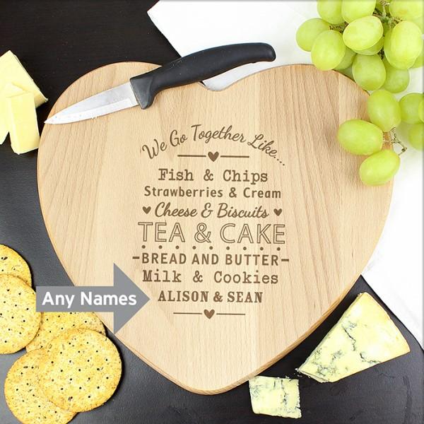 We Go Together Like... Heart Chopping Board