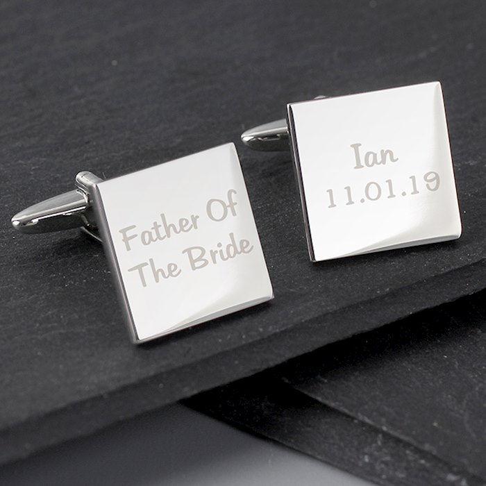 Wedding Role Square Cufflinks - 2 line