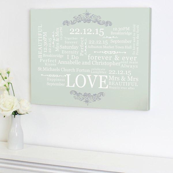 Wedding Typographic Art Canvas
