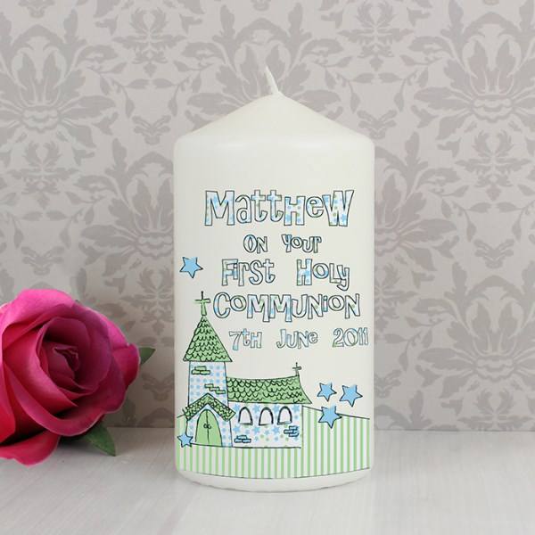Whimsical Church Blue 1st Holy Communion Candle