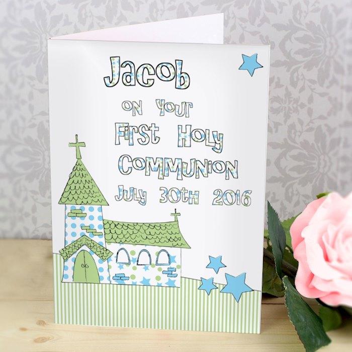 Whimsical Church Blue 1st Holy Communion Card