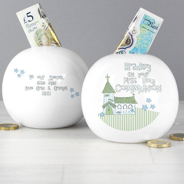 Whimsical Church Blue 1st Holy Communion Money Box