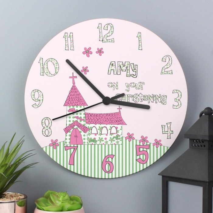 Personalised Whimsical Church Christening Wooden Clock