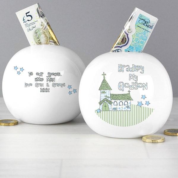 Whimsical Church Godson Money Box