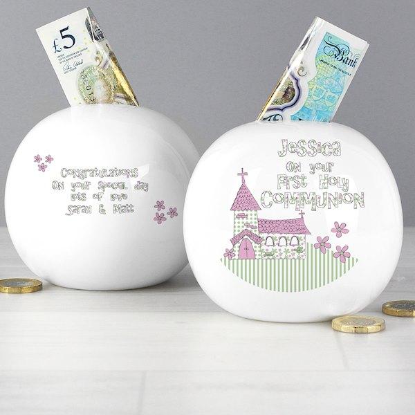 Whimsical Church Pink 1st Holy Communion Money Box