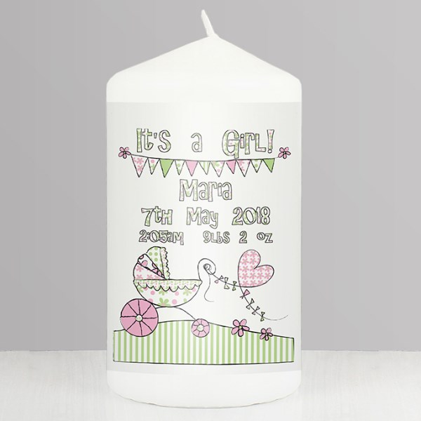Whimsical Pram Its a Girl Candle